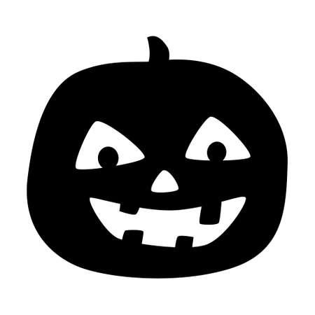 Halloween pumpkin silhouette illustration, Jack O Lantern isolated on white background.