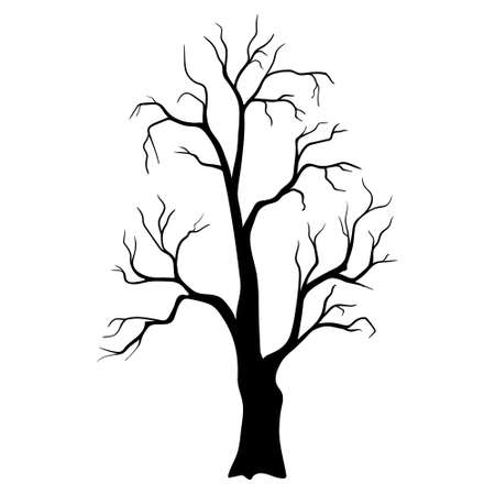 Black tree without leaves. scary tree silhouette. Silhouette trees illustration design on white background. Vettoriali
