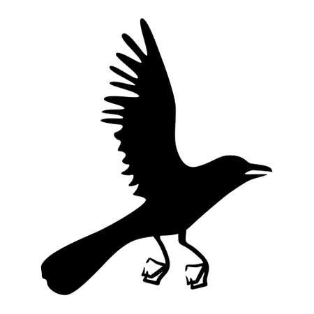 Crow in flight. silhouette of a raven on a white background Vettoriali