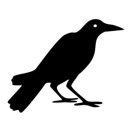 silhouette of crow. Illustration silhouette of a crow sitting