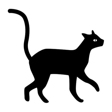 silhouette of a cat on a white background. Black cat, scary Halloween illustration. Vettoriali