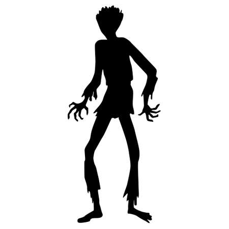zombie silhouette. Black zombie silhouette isolated on white background, Halloween decor