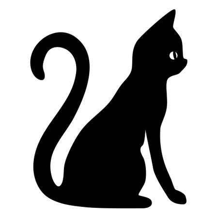 silhouette of a cat on a white background. Vector black silhouette of a sitting cat. Vettoriali