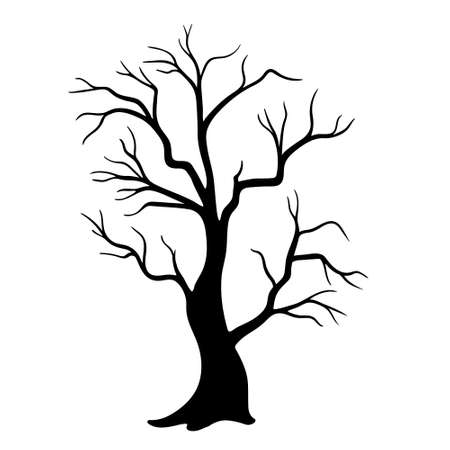Dead Tree without Leaves. Silhouette trees illustration design on white background. Vettoriali