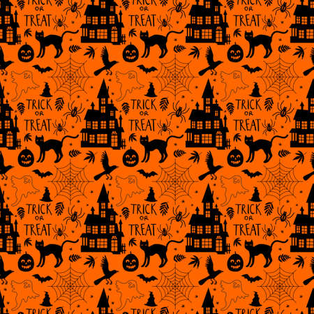 Seamless pattern with related Halloween holiday silhouettes on orange background.