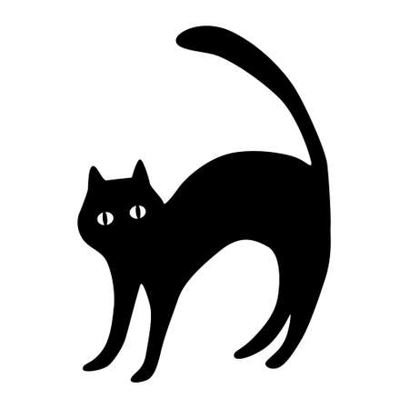 Black cat silhouette with eyes isolated on white background. silhouette of a cat on a white background