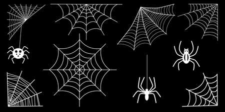 spider web collection isolated on black. Spiderweb for Halloween design. Vettoriali