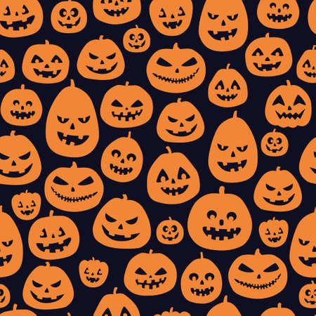Halloween seamless pattern. Orange pumpkins on black background