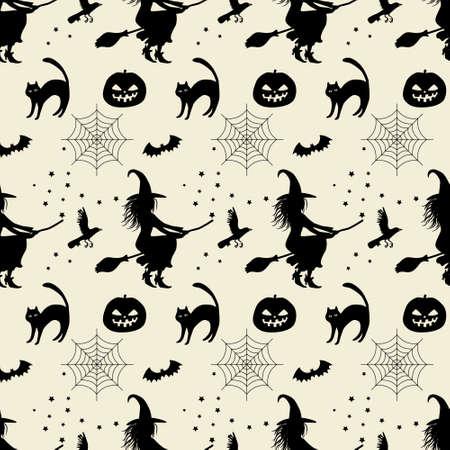Halloween seamless pattern. Silhouette of a witch on a broomstick, cat, bat, pumpkin