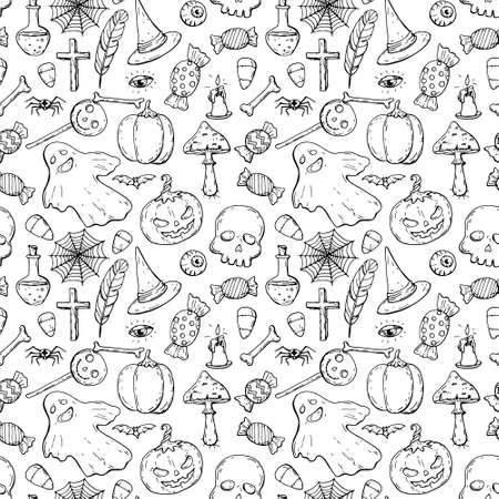 Halloween seamless black and white ink pattern, doodle style Vettoriali