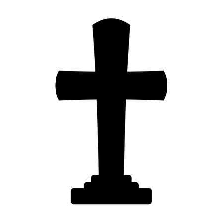 Black cross headstone isolated on white Vettoriali