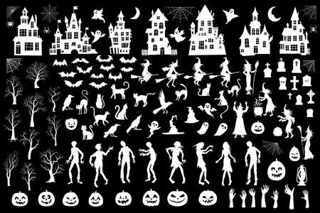 Collection of halloween silhouettes icon and character