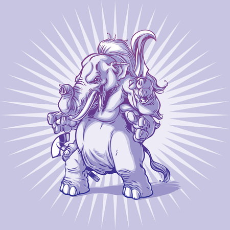 elephant angry: Armed and furious Ganesha