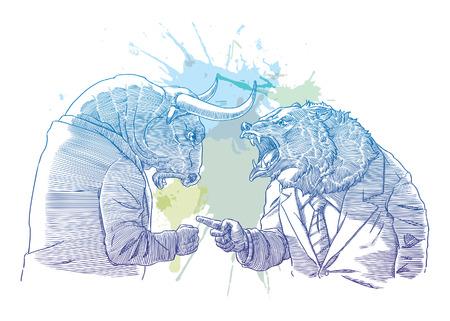 Bull y oso de comerciante Ilustración de vector