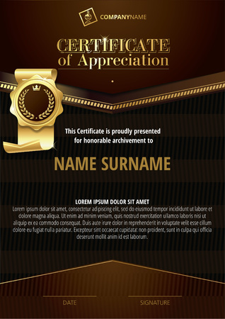 Template of Certificate of Appreciation with golden badge and dark brown elements Illustration