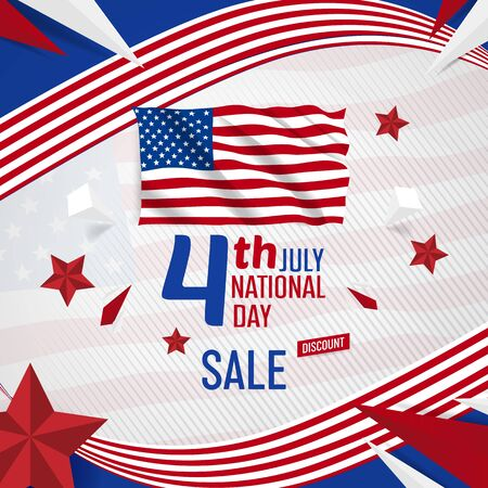 4th july usa independance day banner with American flag vector template  イラスト・ベクター素材