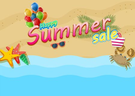 Happy summer Sale Poster on tropical beach background. Foto de archivo - 130415962