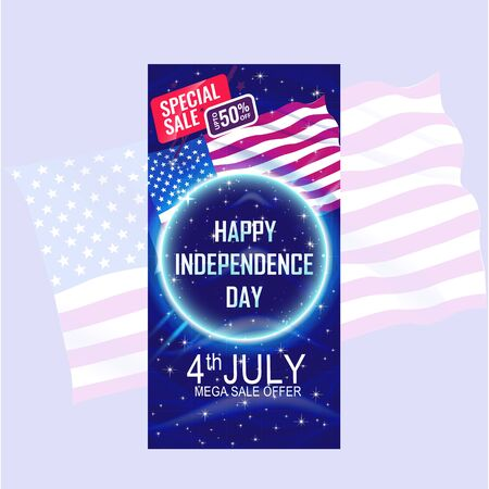 Fourth of July Independence Day Banner with USA flag waving and blue star pattern background. Foto de archivo - 130415963