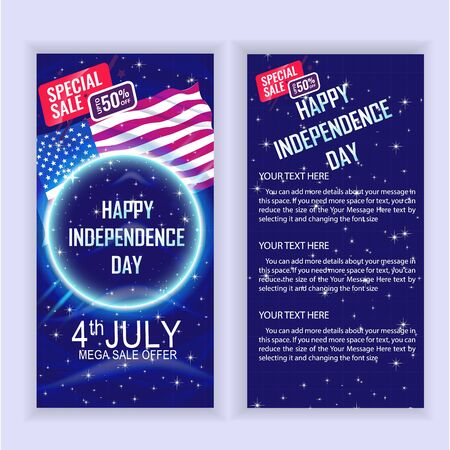 4th of July USA Independence Day Sale Flyer design template for your projects. Foto de archivo - 130415965