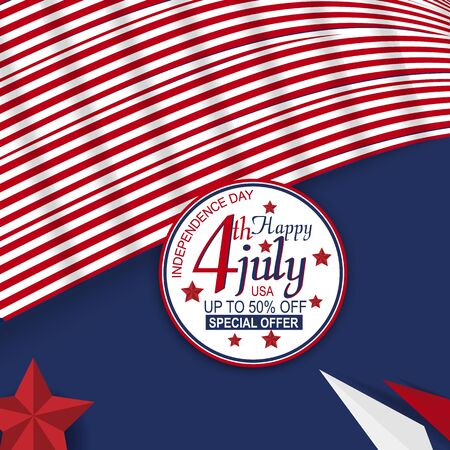 sale material and element for fourth of july independence day of united states. Design for banner, advertising, greeting cards or print. Design happiness celebration. Foto de archivo - 130415966