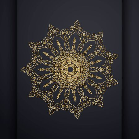 Islamic vertical banners with arabesque mandala for greeting card, poster and voucher. round ornament lace golden pattern.