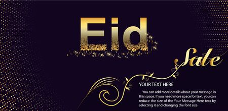 Eid Al Fitr Sale Vector Design for Banner and Poster. Beautiful greeting card design with stylish text Eid ul-Adha. Foto de archivo - 130415968