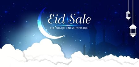 Sale Banner Or Sale Poster For Festival Of Eid Mubarak, web header or banner design with crescent moon and flat 50% off offers on blue Background. Ilustração