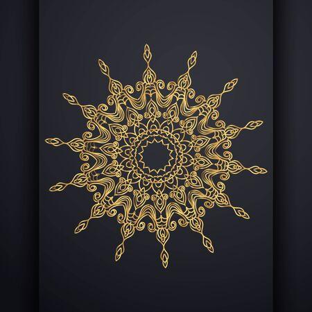Vector luxury ornamental mandala design background in gold color. Oriental vector, Anti-stress therapy patterns. Weave design elements. Yoga logos Vector. Foto de archivo - 130415979