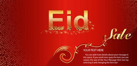 Beautiful poster, banner or flyer design for Eid Sale. festival of Muslim community celebration.