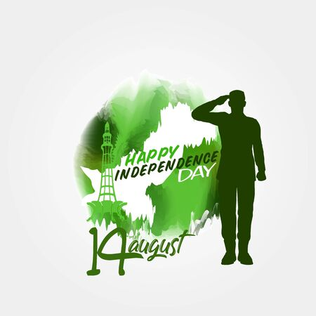 14 August Pakistan Independence Day water color vector design