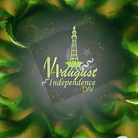 14 August. Pakistan Independence Day Abstract waving Flag Background Design Vector illustration Foto de archivo - 130415985