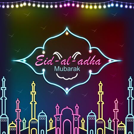Eid Mubarak poster, banner or greeting card design. Vector illustration of abstract light background with glowing neon. Eid al-Adha. the sacrifice a ram, trendy modern graphic design. Foto de archivo - 130415984