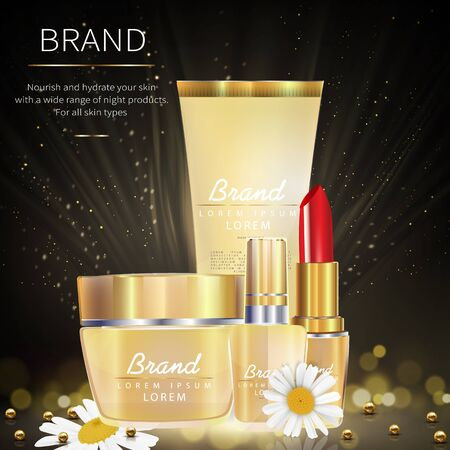 Vector 3D cosmetic illustration for the promotion of premium product. Beauty product concept illustration with flowers and pearls.