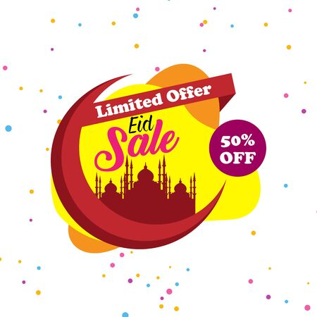 Eid Festival Sale, Offer Design Tag, Sticker with 50% Discount.Shop market poster design.