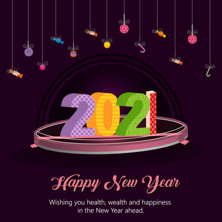 Happy New Year 2021 year 3d typography text celebration poster design. Vector Holiday Design for Premium Greeting Card, Party Invitation