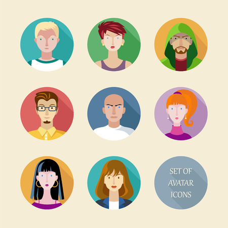 cowl: Set of vector avatar in flat design style.