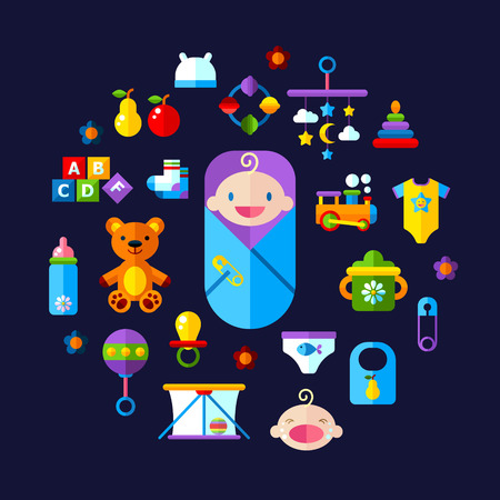 playpen: Set of vector icon set baby toys, feeding and care Illustration