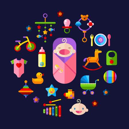 teteros: Conjunto de juguetes de vectores conjunto de iconos del bebé, la alimentación y el cuidado Vectores