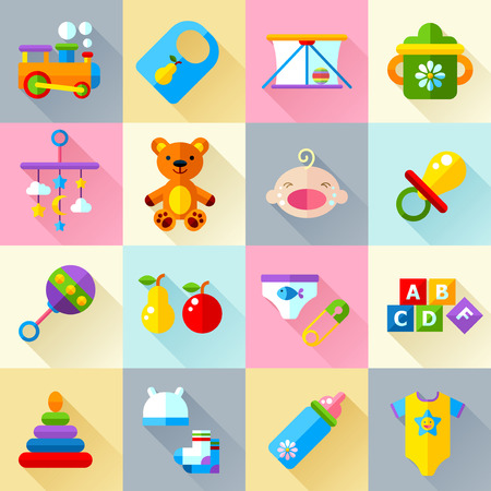 manege: Set of vector icon set baby toys, feeding development  and care