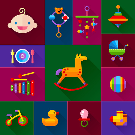 baby development: Set of vector icon set baby toys, feeding and development
