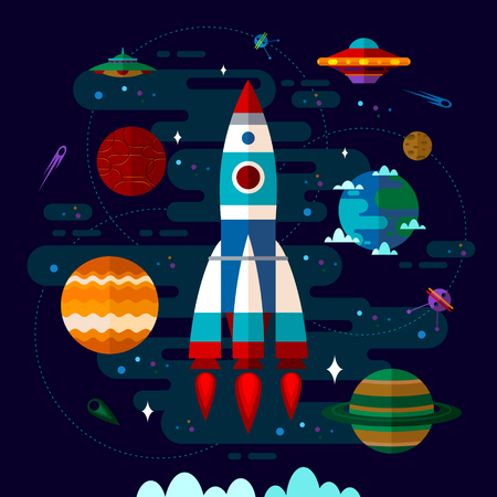 ufo: Vector flat space elements with spaceship, ufo and planets.