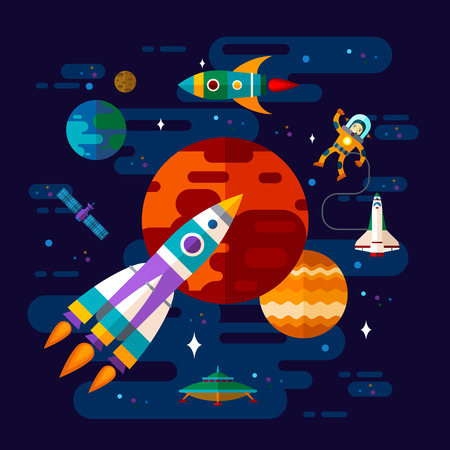 Vector flat space elements with spaceship, ufo and planets.