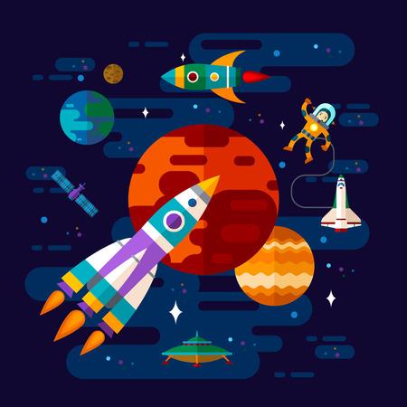 Vector vlakke ruimte elementen met een ruimteschip, ufo en planeten. Vector Illustratie