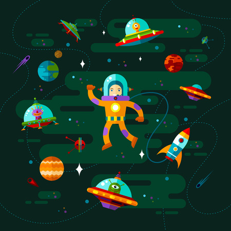 exploration: Vector flat space with ufo, astronaut and planets.