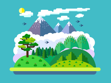 Vector flat landscape with mountains, forest and mist.