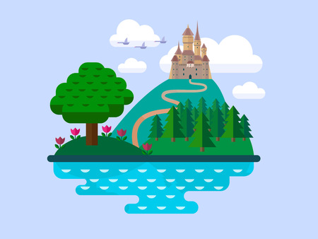 fort: Vector flat landscape with castle, hills, trees and the river Illustration