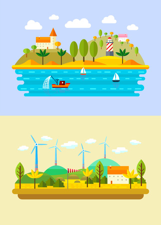 fishing village: Vector flat landscape with sea, windmill, castle, fishing ship and lighthouse Illustration