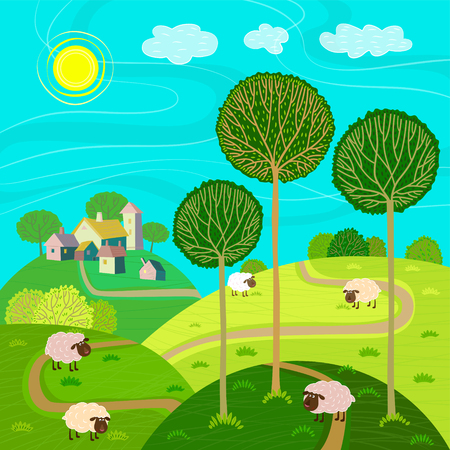 sheeps: Rural landscape with village, hills, meadow and sheeps