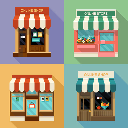 family in front of house: Different vector shops and stores icons set. Concept online shopping.