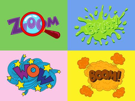 wow: Conjunto de pegatinas de dibujos animados ?omic y la burbuja del discurso del zoom, guau, splat, bum
